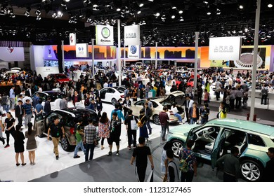 BEIJING CHINA-May 3, 2016: Beijing automobile exhibition, consumers visit Sino German joint venture Skoda motor. It is one of the four oldest automobile manufacturers in the world.