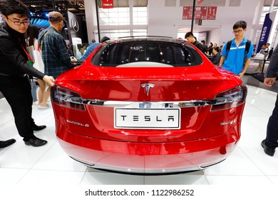 BEIJING CHINA-May 3, 2016: Chinese consumers at the 4S store in Beijing Tesla, Beijing, visited the automatic driving and Internet charging system for Tesla MODEL X (MODEL S).