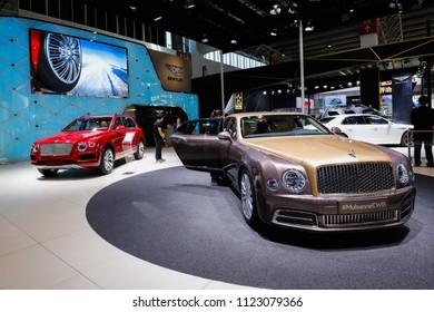 BEIJING CHINA-May 3, 2016: consumers visit Bentley(Mulsanne EWB) cars at Beijing motor show. BentleyMotors Limited is a world-famous super luxury car manufacturer, headquartered in Crewe, UK.