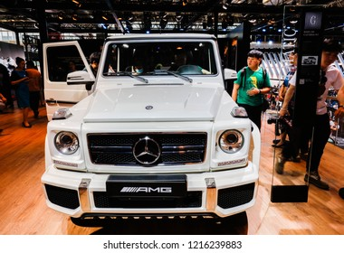 BEIJING CHINA-May 3, 2016: Consumers visit Mercedes-Benz cars on display at an Exhibition hosted by the China Automobile Industry Association. Germany's global luxury car brand.