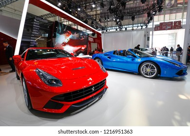BEIJING CHINA-May 3, 2016: Ferrari GTC4Lusso, a world-renowned Italy super brand, landed at the Beijing auto show. First appeared in the Asian market, using the rear wheel steering technology.