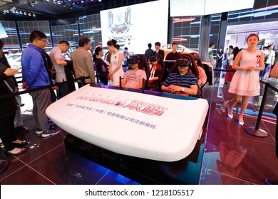 BEIJING CHINA-May 3, 2016: at the fourteenth Beijing international automobile exhibition, people will drive the car world in the VR virtual reality on TOYOTA car booth.