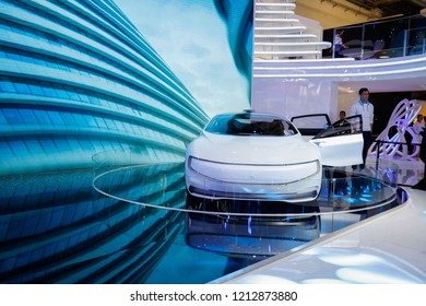 BEIJING CHINA-May 3, 2016: Beijing international auto show, LeEco officially launched super cars. The concept car is intelligent Internet, which can automatically drive and face recognition.