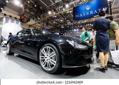BEIJING CHINA-May 3, 2016: international automobile exhibition, consumers visit Maserati luxury cars. Italian luxury car manufacturer, founded in 1914 in Bologna, now headquartered in Modena.