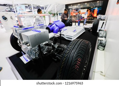 BEIJING CHINA-May 3, 2016: Beijing International Auto Show, BAIC Group, showcases new energy vehicles and automotive engine equipment, as well as the latest development of automotive technology.