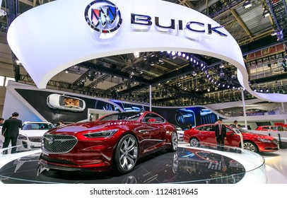 BEIJING CHINA-May 3, 2016: Beijing motor show, consumers visit Buick motor. Buick is a car brand sold by General Motors Corporation in the United States, Canada and China.