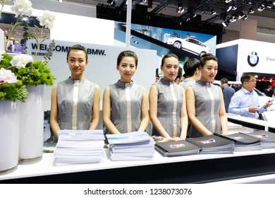 BEIJING CHINA-May 3, 2016: Beijing motor show, consumers are visiting BMW cars exhibited by BMW group. BMW is a world-renowned luxury car brand, headquartered in Munich, Bavaria, Germany.