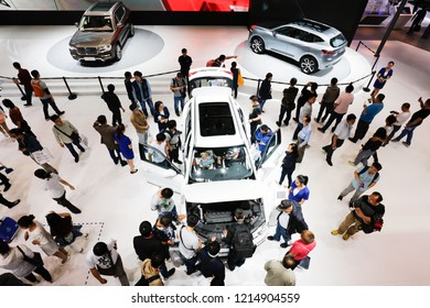 BEIJING CHINA-May 3, 2018:Visitors look at Haval SUVs of Great Wall Motor on display during the 14th Beijing International Automotive Exhibition, Haval is the chinese automobile brand.