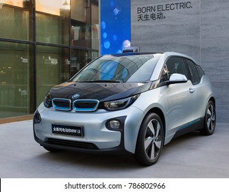 BEIJING, CHINA-NOVEMBER 22, 2014: BMW i3 electric vehicle model is on display at sanlintun area in city downtown