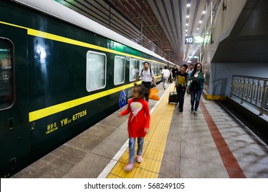 Beijing, China-Oct5, 2016: Passangers are seen around Beijing Railway Station during National Day holida. Beijing railways will carry around 8.69 mln passengers during this period.