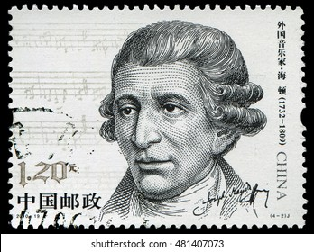 Beijing, China-September 11, 2016: Franz Joseph Haydn(1732-1809) , a prolific Austrian composer of the Classical period. Stamp issued by China Post in 2010.