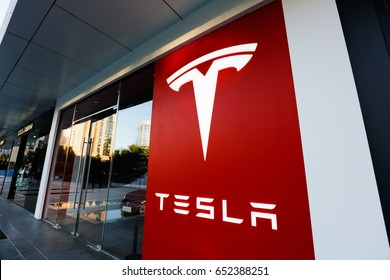 BEIJING CHINA-September 28, 2016: Tesla Chinese city experience shop. Tesla is an American electric vehicle and energy company. Headquartered in Palo Alto, California,, USA