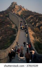 BEIJING - CIRCA NOV : Crowds walk along the Great Wall circa November 2001 in Beijing, China.