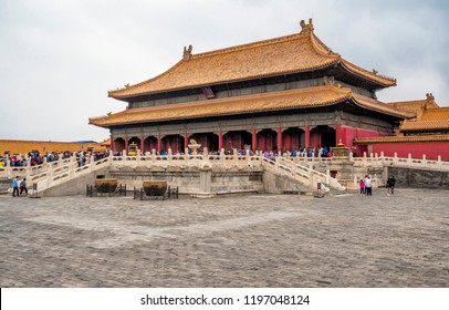 Beijing city, China - May 20, 2018: Forbidden city architecture and ornaments