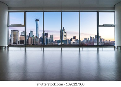 beijing cityscape and skyline with empty glass window.