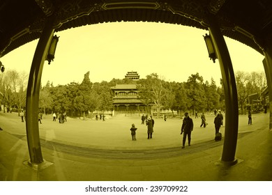 BEIJING - DECEMBER 22: The Qiwang Tower scenery of the Jingshan Park, December 22, 2013, Beijing, China.