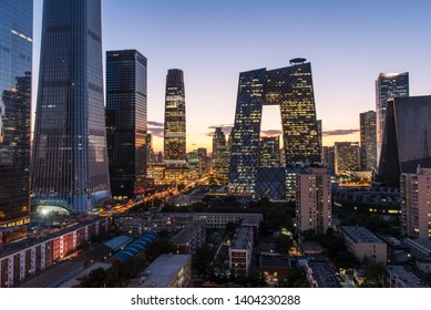 Beijing downtown district scenery at night