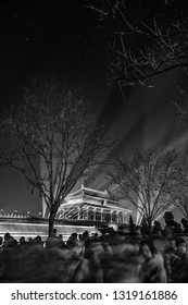 BEIJING - FEB 20: people visiting the first ever Forbidden City light show during Chinese New Year in Beijing, China on 20 February, 2019 (long exposure used to show movement of people)