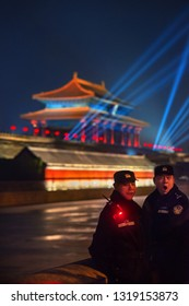 BEIJING - FEB 20:  police patrol during the first ever Chinese New Year light show in the Forbidden City on 20 February, 2019 in Beijing.