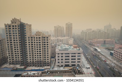BEIJING - FEB 27: severe air pollution in Beijing city center on February 27, 2018 in Beijing, China. Beijing has an alarming level of air pollution, one of the highest in the world.