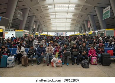 BEIJING - FEB 8: large crowd of people travel during Chinese New Year holiday on 8 February, 2017 in Beijing, China. During the one week holiday over 70 million people traveled by train only.