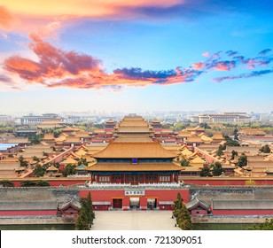 Beijing forbidden city scenery at sunset,China,Chinese symbols