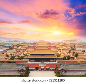 Beijing forbidden city scenery at sunset,China,high angle view