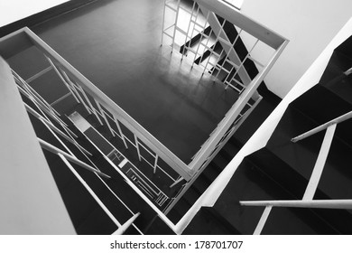 BEIJING - JANUARY 17: Stairs down landscape in the Tangshan building, on January 17, 2014, Beijing, China.