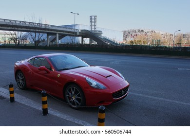 Beijing - June 16, 2016: Ferrari California at Birdnest. Ferrari California is a two-door hard top convertible sports car powered by a front-mid mounted naturally aspirated 4.3-litre V8 engine.