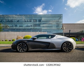 Beijing - June 18, 2018: Qiantu Motors K50, a Chinese start-up company's full electric sports car, with 402-bhp, aluminum frame and carbon fiber body shells.