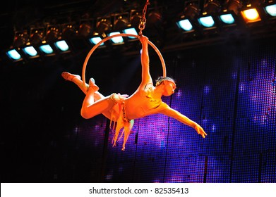 BEIJING - JUNE 5: Beijing Acrobatics Troupe artist performs at the famous Chaoyang Theatre on June 5, 2011, in Beijing, China.