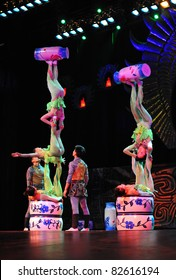 BEIJING - JUNE 5: Beijing Acrobatics Troupe artists perform at the famous Chaoyang Theatre on June 5, 2011, in Beijing, China.