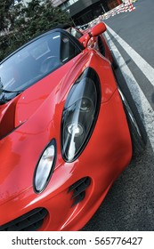 Beijing - June 9, 2015: red Lotus Elise convertible.