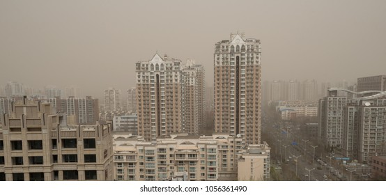 BEIJING - MARCH 28: severe air pollution in Beijing city center on March 28, 2018 in Beijing, China. Beijing has an alarming level of air pollution, one of the highest in the world.