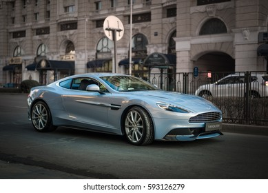 Beijing - March 5, 2017: Aston Martin Vanquish (2nd generation, 2012-), a British grand tourer powered by 5.9L AM11 V12 engine, at Aston Martin dealership at Jinbao Street, near Wangfujing.