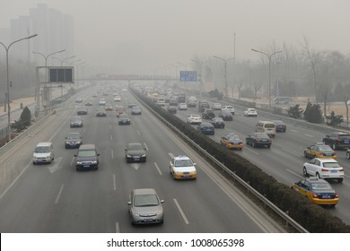 BEIJING - MAY 2: Traffic jam in Beijing's Central Business District on May 2, 2016 in Beijing, China. Beijing is expected to pass the six million vehicles on its roads by the end of the year.
