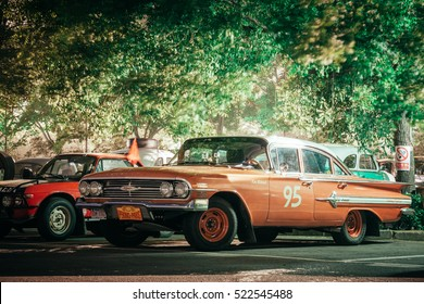 Beijing - May 28, 2013: 1964 Chevrolet Impala on starting ceremony of Peking to Paris Rally. The event was open to public with no entrance limitations.