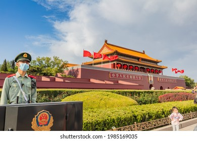 Beijing - May 4, 2021: People visit Tian 'anmen Square during the May Day holiday. It was temporarily closed for construction to celebrate the 100th anniversary of the founding of the Communist Party
