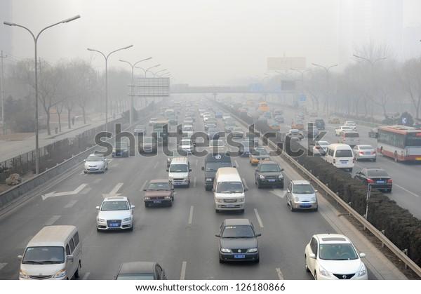 Beijing May 9 Traffic Jam Smog Stock Photo (Edit Now) 126180866