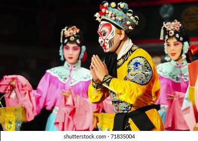 "BEIJING - NOVEMBER 16: Actors of the Beijing Opera Troupe perform the famous story ""Journey to the West"" at the Huguang Theater on November 16, 2010, in Beijing, China."