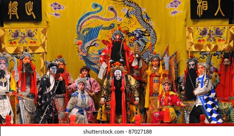 "BEIJING - NOVEMBER 16: Unidentified actors of the Beijing Opera Troupe perform the famous story ""Journey to the West"" at the Huguang Theater on November 16, 2010, in Beijing, China."