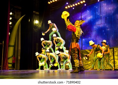 BEIJING - NOVEMBER 17: Artists of the Beijing Acrobatics Troupe perform at the famous Chaoyang Theatre on November 17, 2010, in Beijing, China.