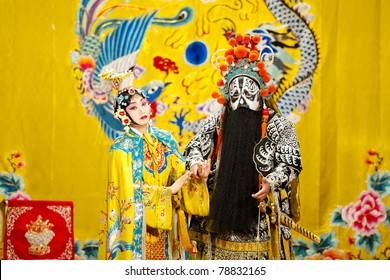 "BEIJING - NOVEMBER 18: Actors of the Beijing Opera Troupe perform the famous story ""Farewell to my Concubine"" at the Huguang Theatre on November 18, 2010, in Beijing, China."