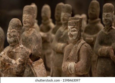 BEIJING - October 12 : Pottery Figures on October 12, 2019 in Beijing, China.  Ancient Chinese Northern Wei Dynasties (386-534 AD). Unearthed at Caochangpo, Xi'an, Shaanxi  Province, 1953.