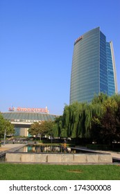 BEIJING - OCTOBER 6: The China iron and steel group building in the zhongguancun, on october 6, 2012, beijing, china.
