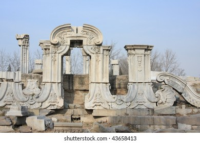 Beijing old summer palace landmark ruins, destroyed by Western powers during war