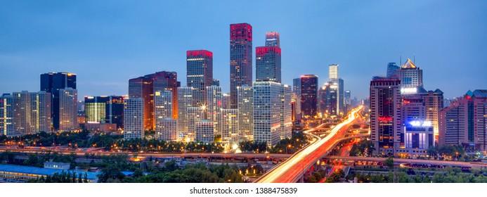 Beijing skyline panorama at night, China