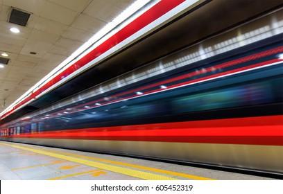 Beijing Subway in motion. Beijing, China.