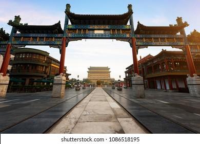 Beijing Zhengyang gate Jianlou during sunrise in Qianmen street in Beijing city, China.