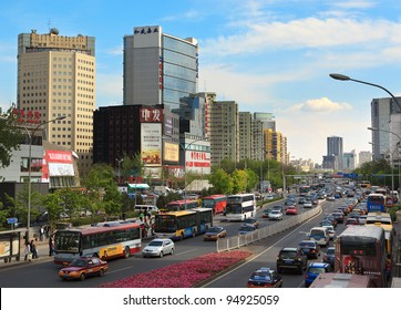BEIJING-APR 23: Panoramic view of Zhongguancun Street on Apr 23, 2011 in Beijing, China. Zhongguancun, also known as China's Silicon Valley, is one of the technology centers throughout the World.